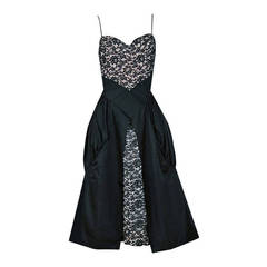 1950's Elegant Black Rhinestone Lace-Illusion & Silk Sculpted Party Dress