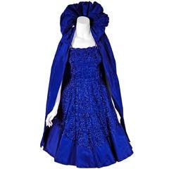 1950's Frank Starr Sequin Indigo Blue-Purple Silk Full Party Dress & Cape