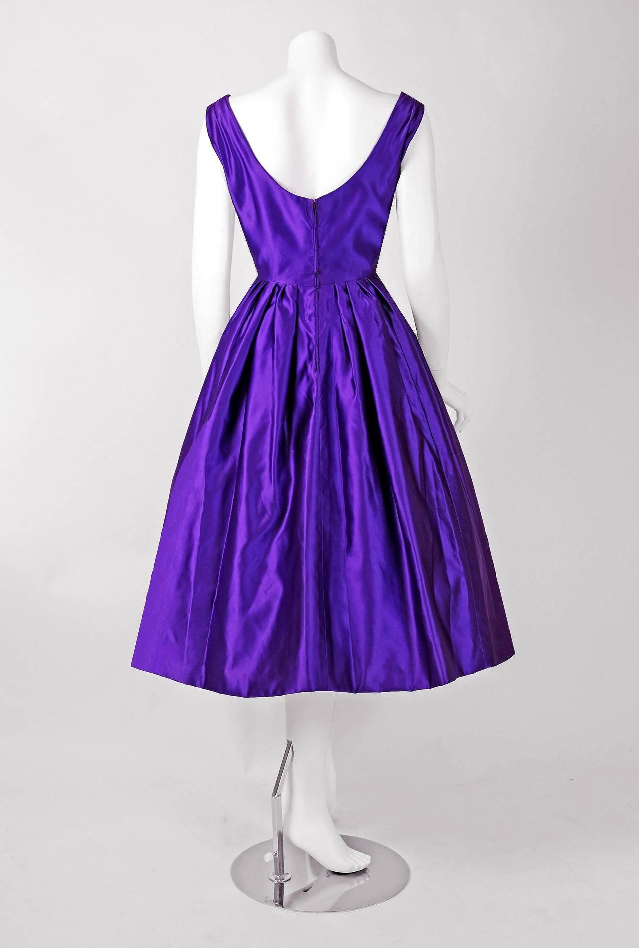 1950 S Pierre Balmain Haute Couture Purple Satin Party
