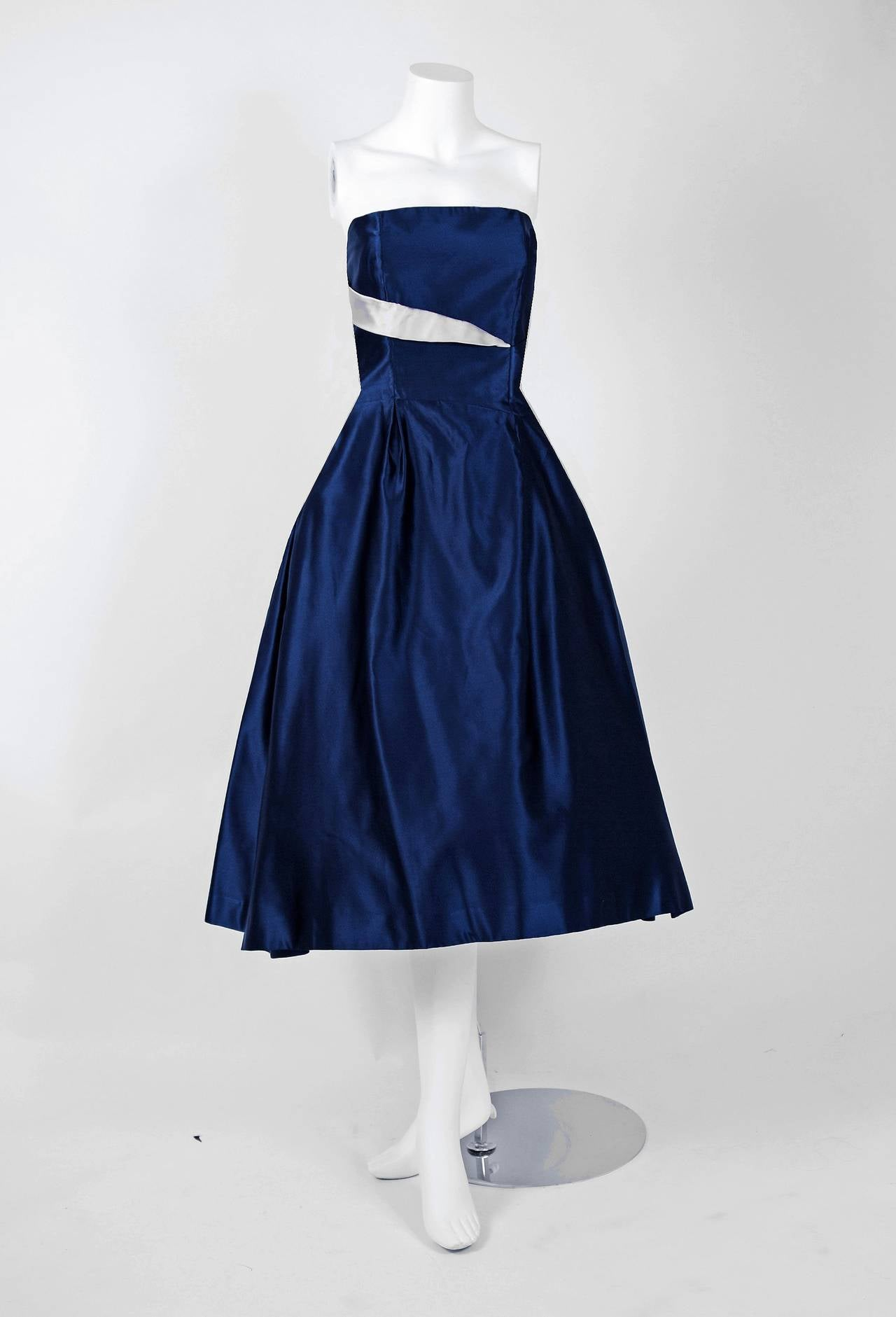 Black 1950's Lanvin Castillo Haute-Couture Navy & Ivory Satin Strapless Dress Ensemble For Sale
