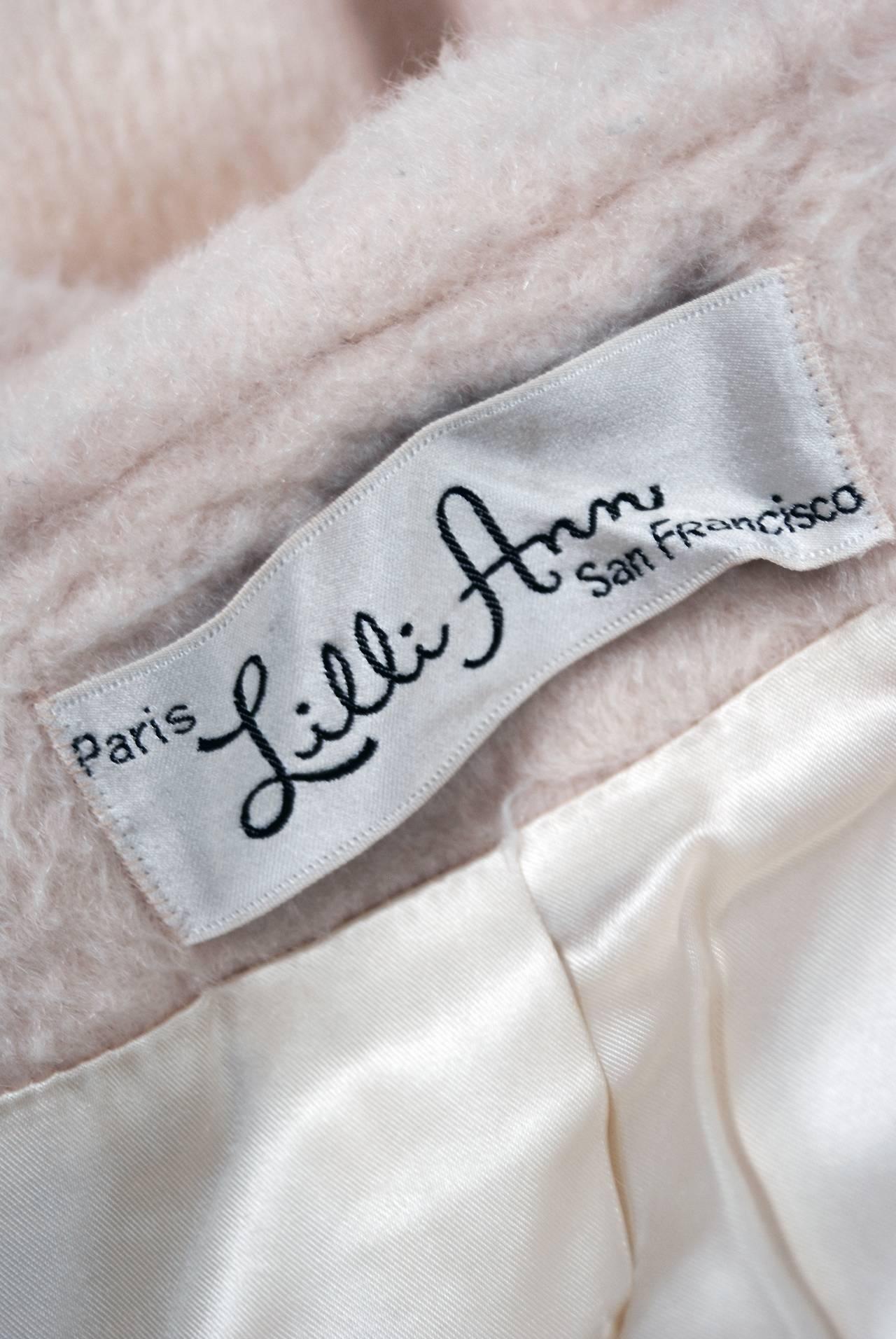 1950's Lilli-Ann Elegant Ivory Creme Wool Shawl-Collar Swing Princess Coat 5