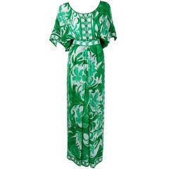 1970's Emilio Pucci Emerald-Green Print Silk Batwing-Sleeves Maxi Dress Gown