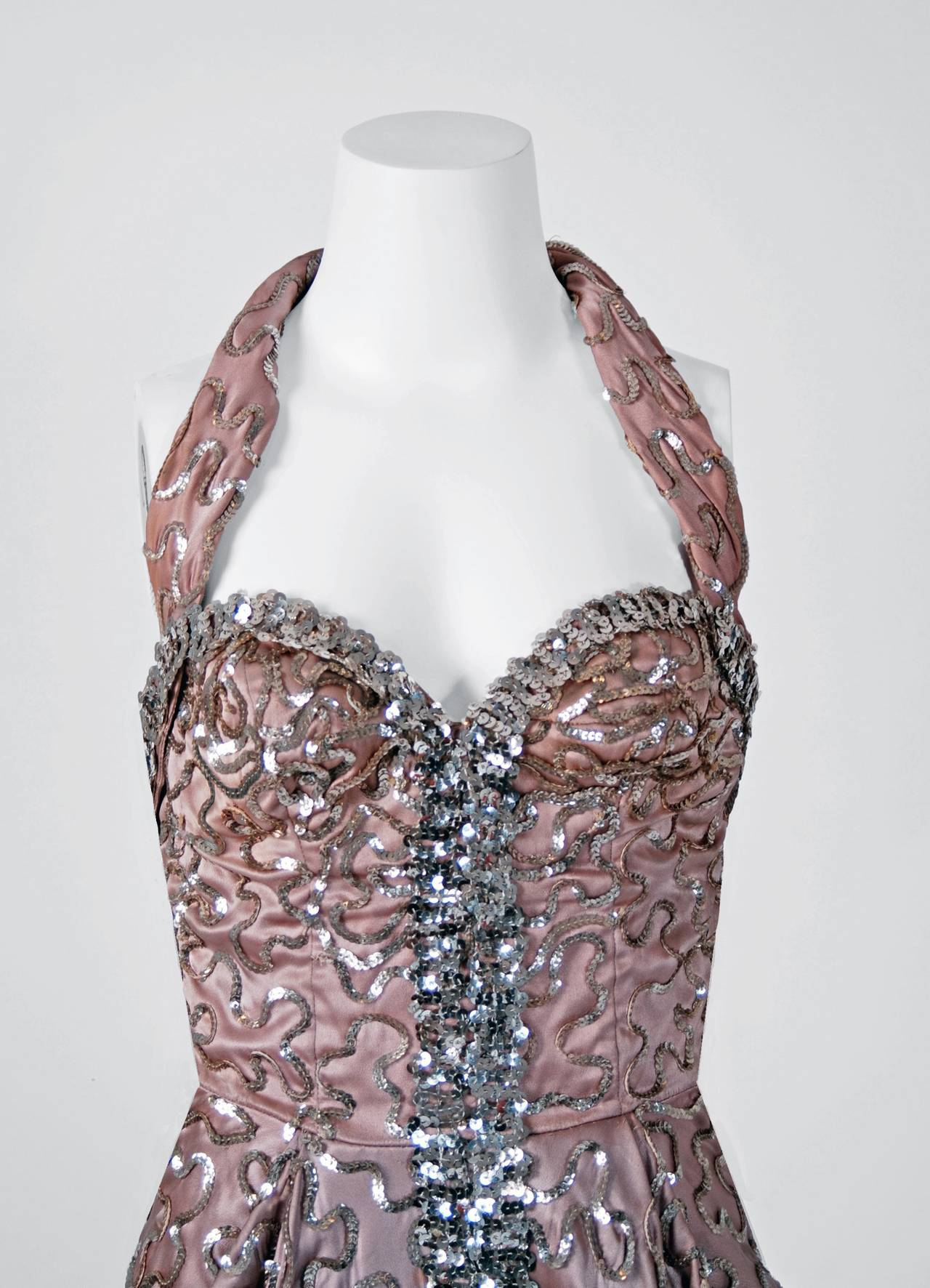 1950's Sequin Champagne-Pink Satin Halter Hourglass Mermaid Evening Dress Gown 3