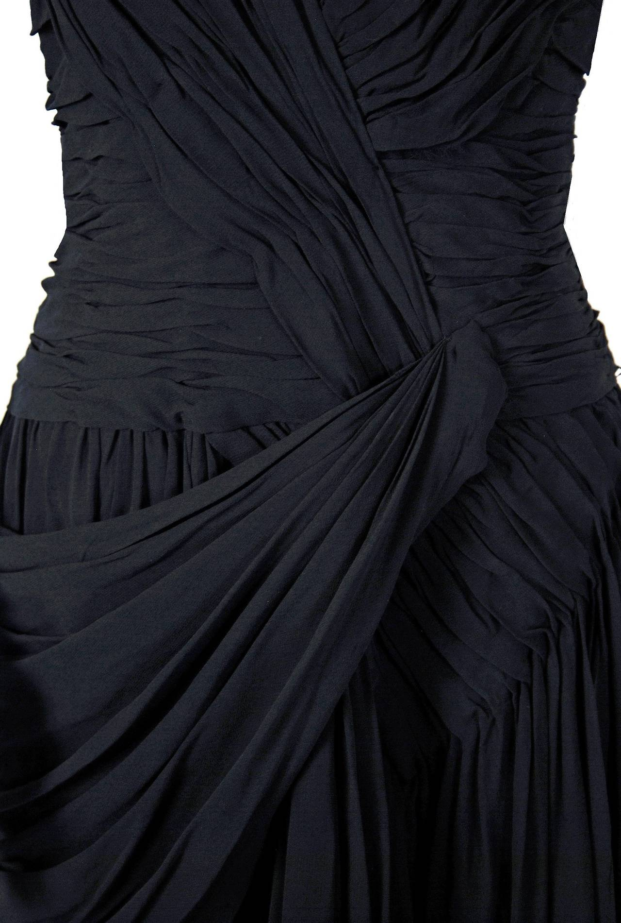 Women's 1950's French Couture Heavily-Pleated Black Chiffon One-Shoulder Party Dress For Sale