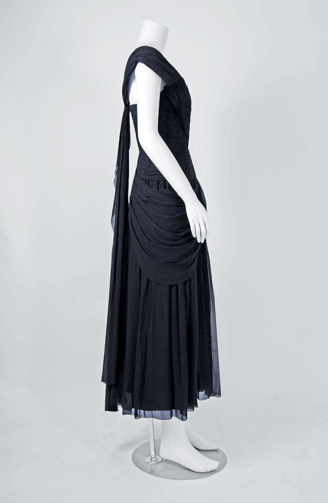 1950's French Couture Heavily-Pleated Black Chiffon One-Shoulder Party Dress For Sale 1