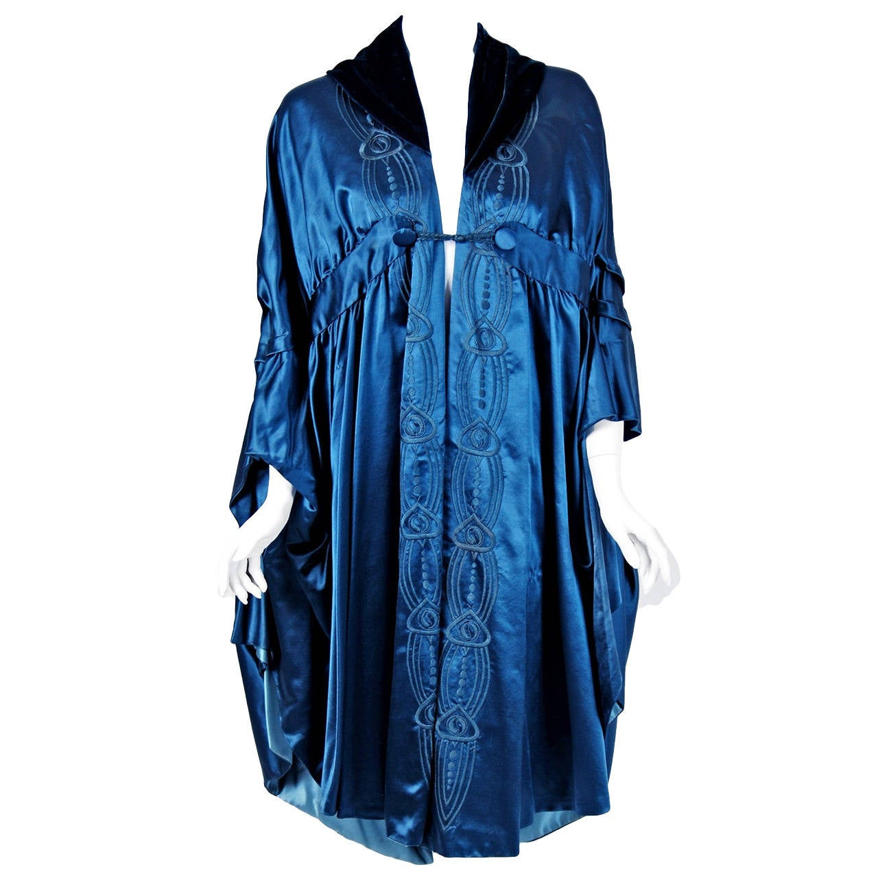 Liberty Couture Steel Blue Embroidered Silk Art Nouveau Draped Coat Cape, 1918