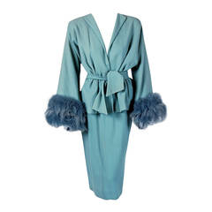 1940's Lilli-Ann Baby Blue Wool & Genuine Fox-Fur Belted Wiggle Dress Suit