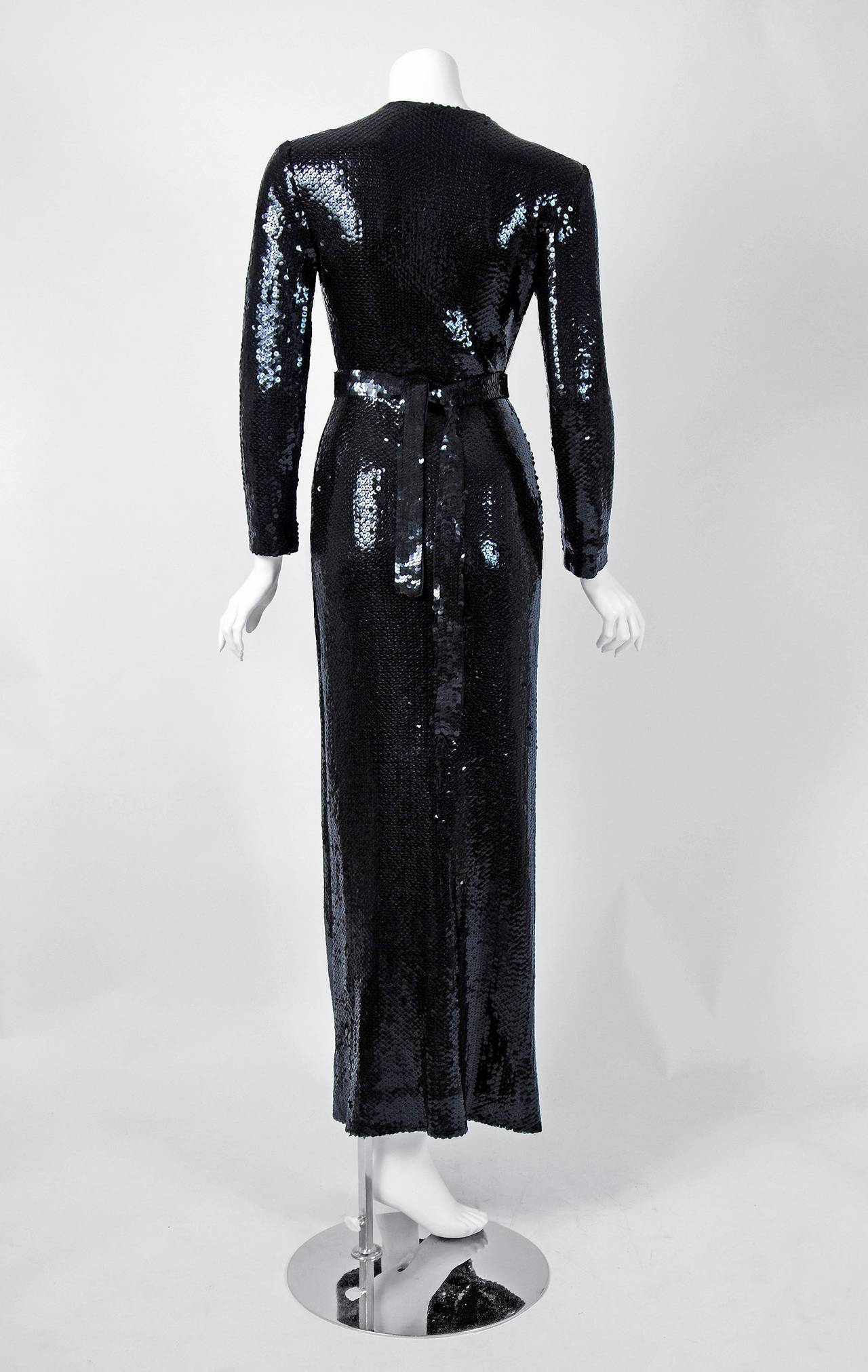 Women's 1970's Halston Black Sequin Silk-Jersey Belted Wrap Low-Plunge Evening Gown For Sale