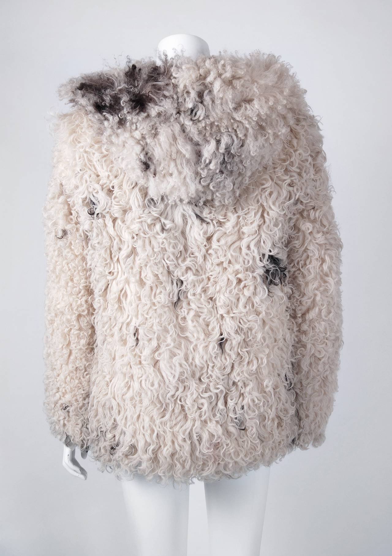 1970's Exquisite Mongolian Curly-Lamb Ivory Fur Hooded Cropped Coat Jacket 4