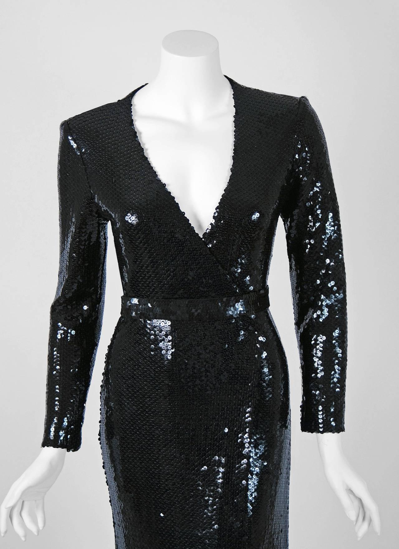 1970 S Halston Black Sequin Silk Jersey Belted Wrap Low