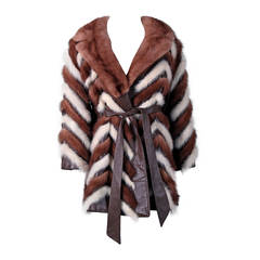 1960's Luxurious Ivory & Brown Stripe Patchwork Mink-Fur Leather Belted Jacket