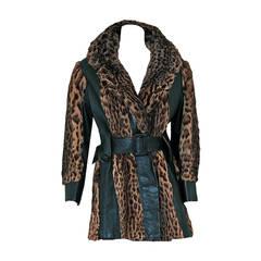 1960's Luxurious Geoffroy-Cat Fur & Black Leather Belted Princess Jacket Coat