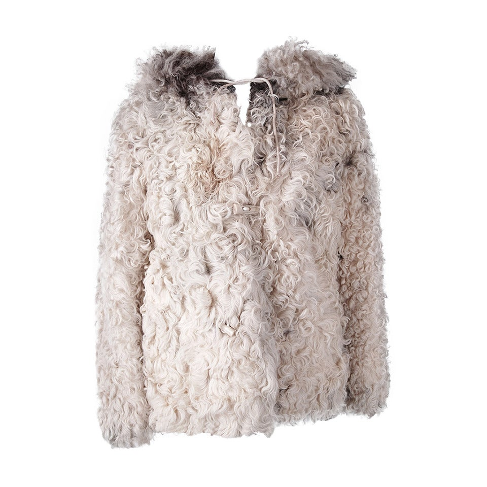 1970's Exquisite Mongolian Curly-Lamb Ivory Fur Hooded Cropped Coat Jacket For Sale