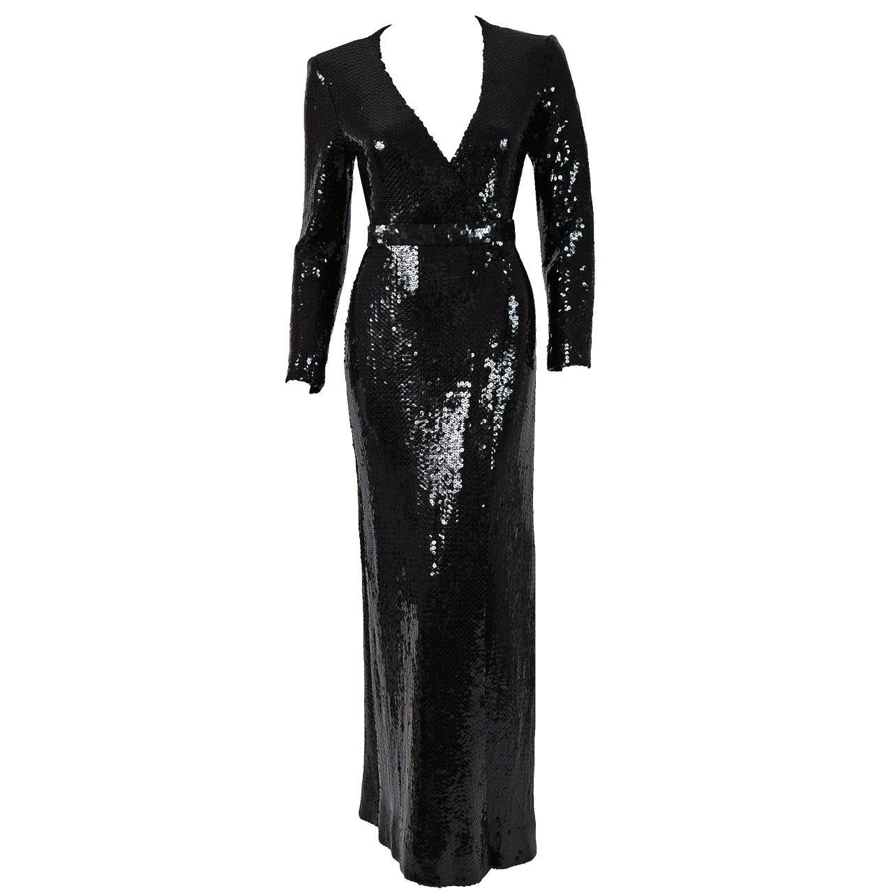 1970's Halston Black Sequin Silk-Jersey Belted Wrap Low-Plunge Evening Gown For Sale
