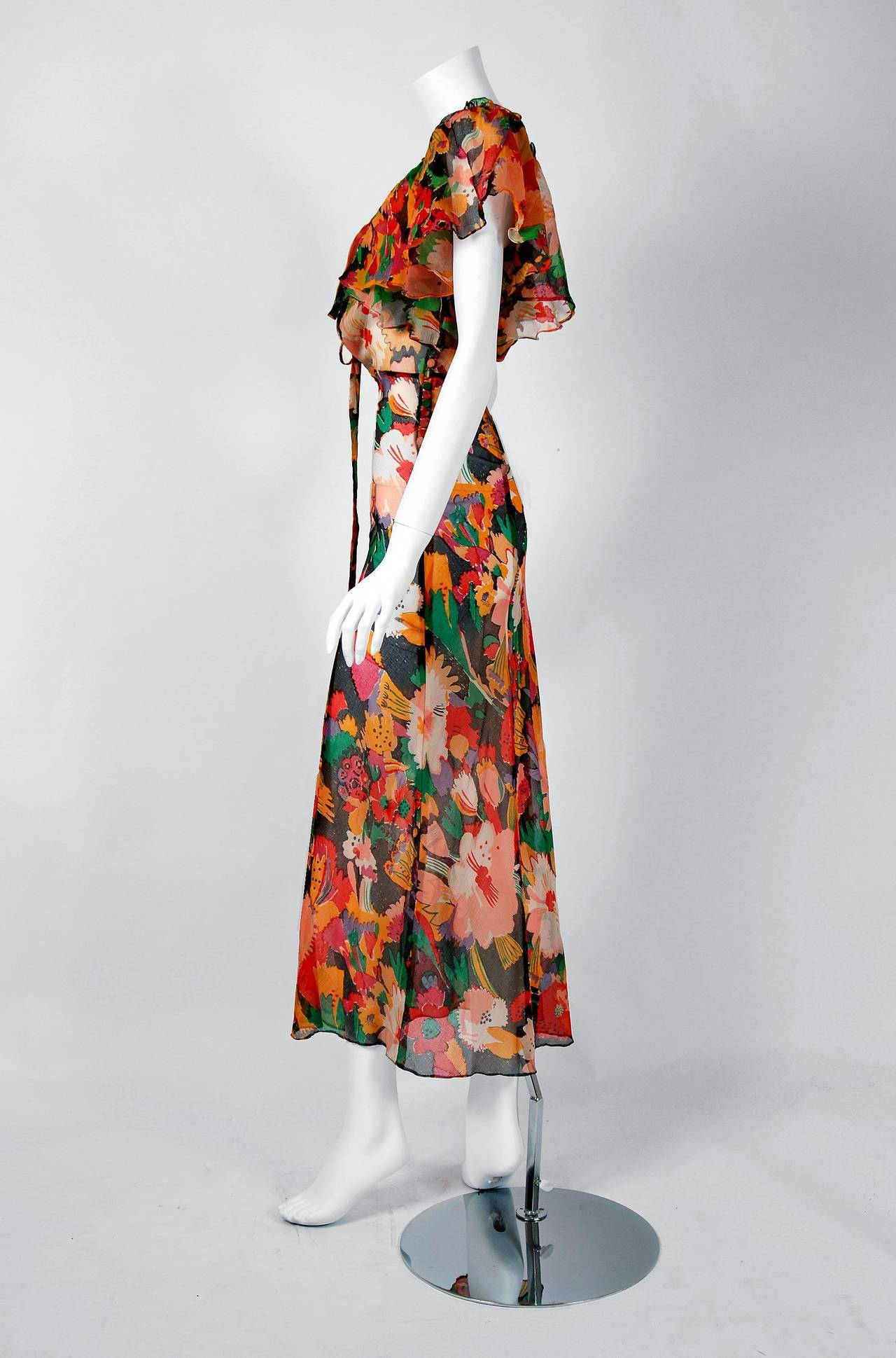 Women S 1973 Ossie Clark Doented Colorful Fl Celia Birtwell Print Chiffon Dress For