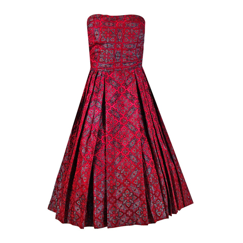 1950's Eleanora Garnett Couture Strapless Print Brocade Pleated Party Dress For Sale