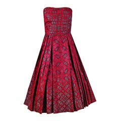 1950's Eleanora Garnett Couture Strapless Print Brocade Pleated Party Dress