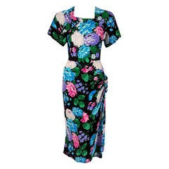 1940's Dorothy O'Hara Colorful Floral Silk-Rayon Print Draped Swag Dress