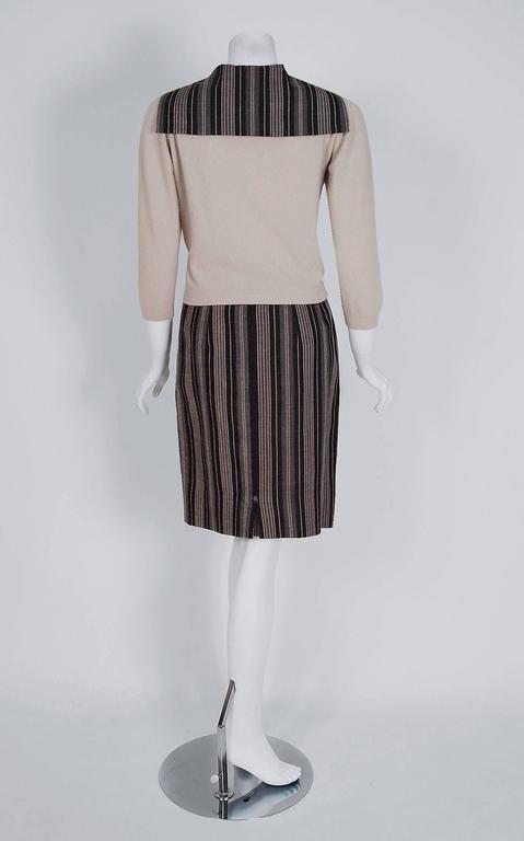 1950's Schiaparelli Beige Cashmere & Striped Wool Sailor-Flap Sweater Skirt Set 5