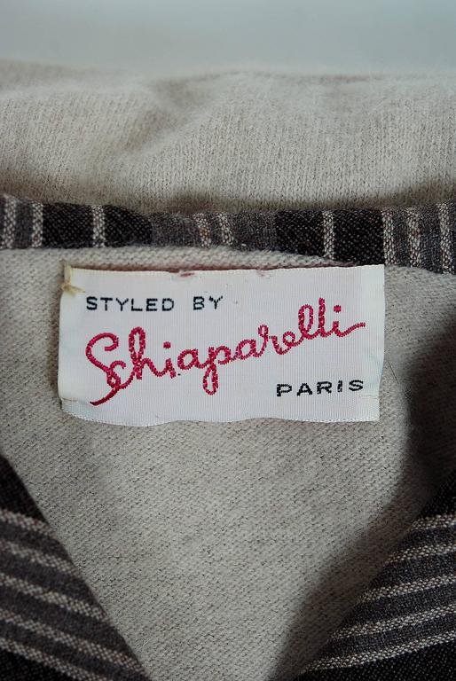 1950's Schiaparelli Beige Cashmere & Striped Wool Sailor-Flap Sweater Skirt Set For Sale 1