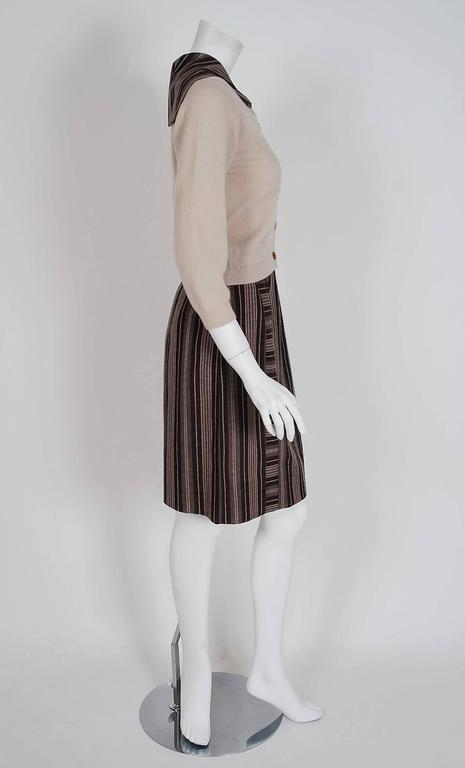 Brown 1950's Schiaparelli Beige Cashmere & Striped Wool Sailor-Flap Sweater Skirt Set For Sale
