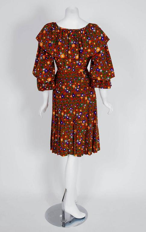 1970's Yves Saint Laurent Colorful Floral Print Silk Peasant Blouse & Skirt Set In Excellent Condition For Sale In Beverly Hills, CA