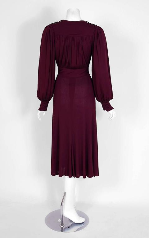 Women's 1969 Ossie Clark for Quorum Plum Purple Ruched Silk Jersey Billow-Sleeve Dress For Sale