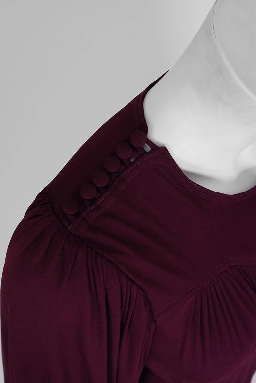 Black 1969 Ossie Clark for Quorum Plum Purple Ruched Silk Jersey Billow-Sleeve Dress For Sale