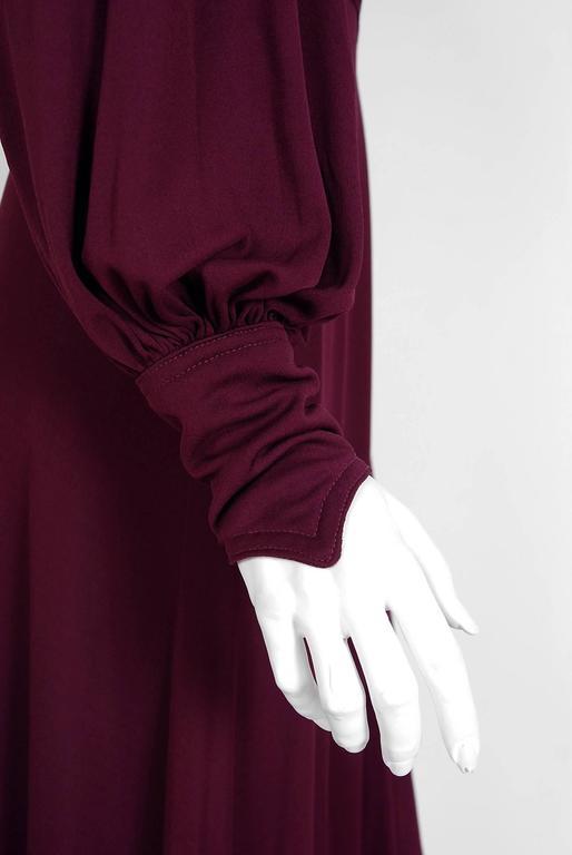 1969 Ossie Clark for Quorum Plum Purple Ruched Silk Jersey Billow-Sleeve Dress 4