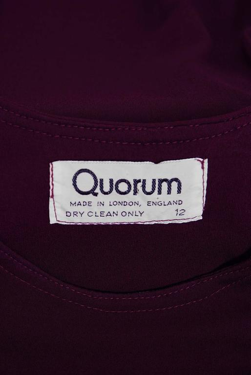 1969 Ossie Clark for Quorum Plum Purple Ruched Silk Jersey Billow-Sleeve Dress 6