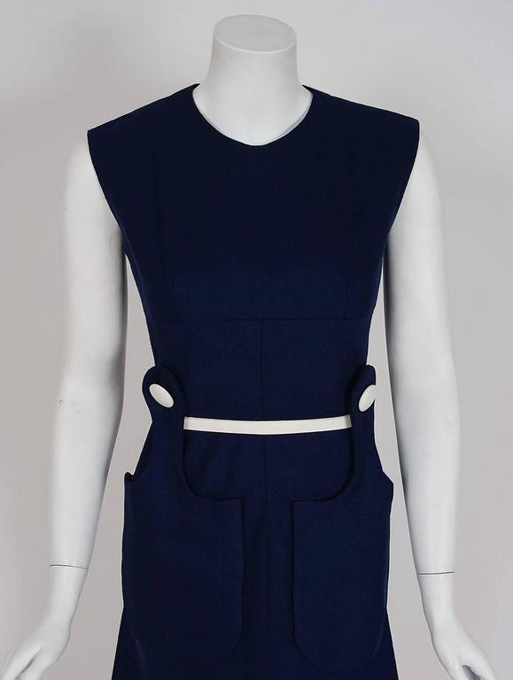 1966 Pierre Cardin Navy-Blue Linen Mod Sculpted Pockets Space-Age Belted Dress 2