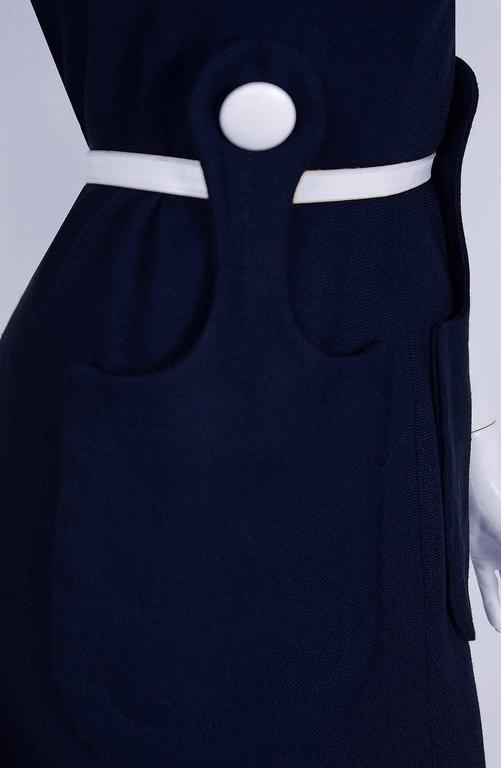 1966 Pierre Cardin Navy-Blue Linen Mod Sculpted Pockets Space-Age Belted Dress 3