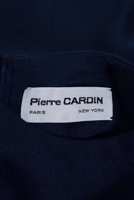 1966 Pierre Cardin Navy-Blue Linen Mod Sculpted Pockets Space-Age Belted Dress For Sale 1
