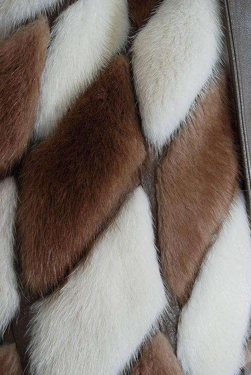 1960's Gorgeous Ivory-White & Brown Patchwork Mink-Fur Leather Belted Jacket  In Excellent Condition For Sale In Beverly Hills, CA