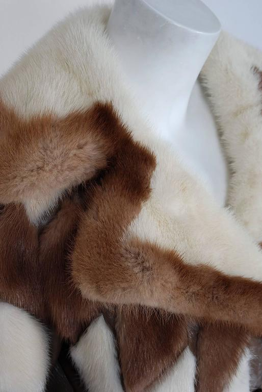 Women's 1960's Gorgeous Ivory-White & Brown Patchwork Mink-Fur Leather Belted Jacket  For Sale