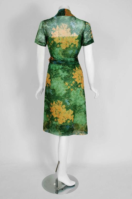 1963 Christian Dior Haute-Couture Floral Print Watercolor Silk Belted Dress In Excellent Condition For Sale In Beverly Hills, CA