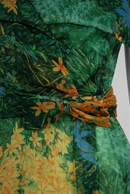 Yellow 1963 Christian Dior Haute-Couture Floral Print Watercolor Silk Belted Dress For Sale
