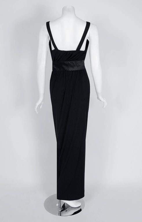 1959 Pierre Balmain Haute-Couture Black Pleated Silk-Jersey Hourglass Gown 4