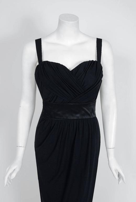1959 Pierre Balmain Haute-Couture Black Pleated Silk-Jersey Hourglass Gown 2