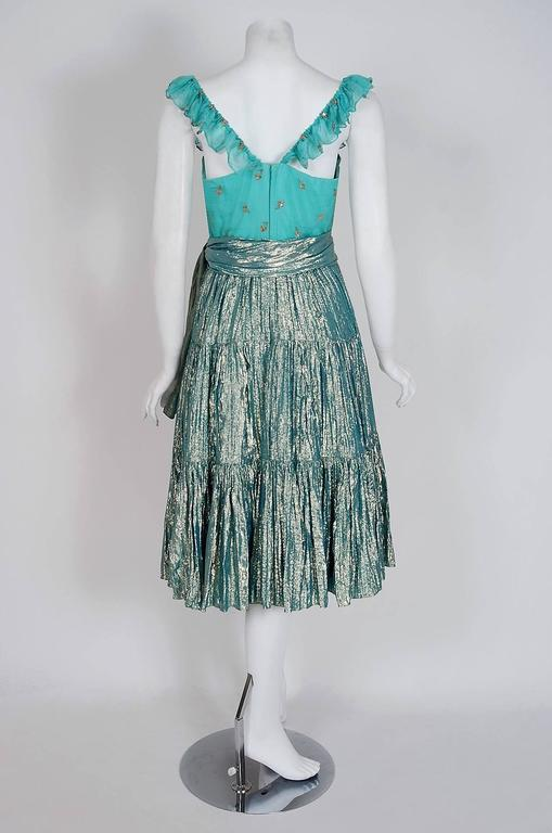 1977 Thea Porter Couture Metallic Blue Embroidered Silk-Lame Peasant Dress Set  For Sale 1