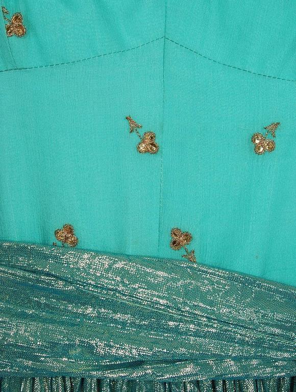 1977 Thea Porter Couture Metallic Blue Embroidered Silk-Lame Peasant Dress Set  3