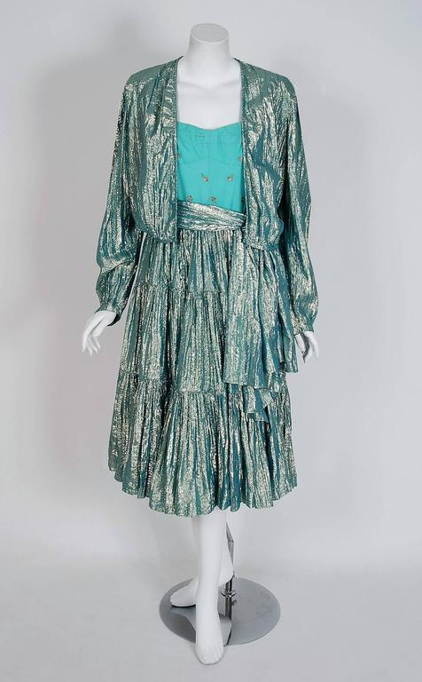 Women's 1977 Thea Porter Couture Metallic Blue Embroidered Silk-Lame Peasant Dress Set  For Sale