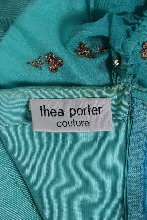 1977 Thea Porter Couture Metallic Blue Embroidered Silk-Lame Peasant Dress Set  For Sale 2