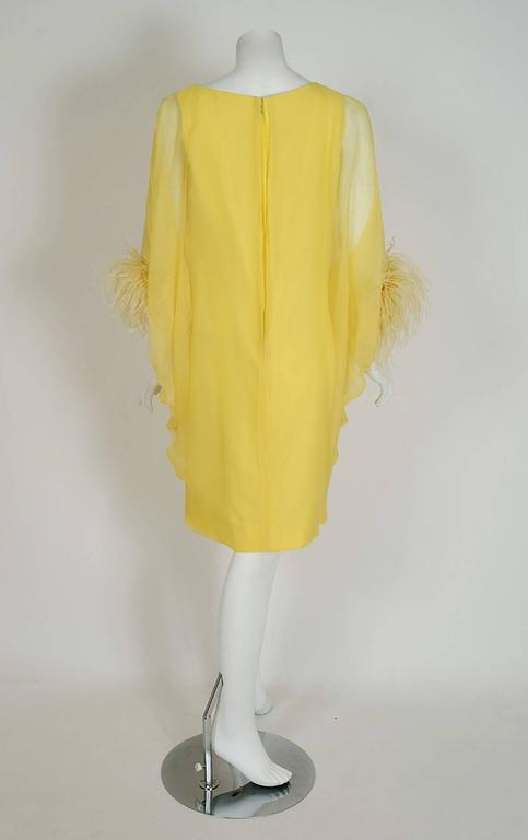 1960's Documented Yma Sumac Yellow Silk-Chiffon & Ostrich-Feather Caftan Dress For Sale 1
