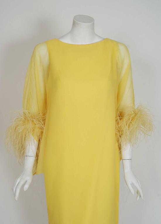 Women's 1960's Documented Yma Sumac Yellow Silk-Chiffon & Ostrich-Feather Caftan Dress For Sale