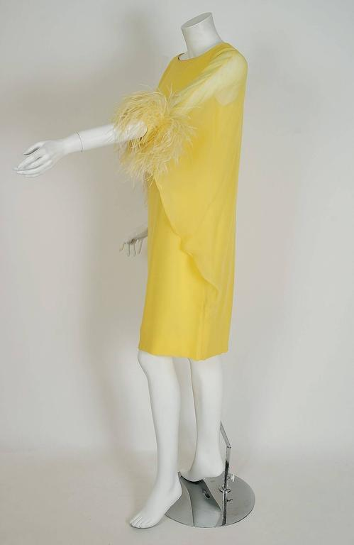 1960's Documented Yma Sumac Yellow Silk-Chiffon & Ostrich-Feather Caftan Dress In Excellent Condition For Sale In Beverly Hills, CA