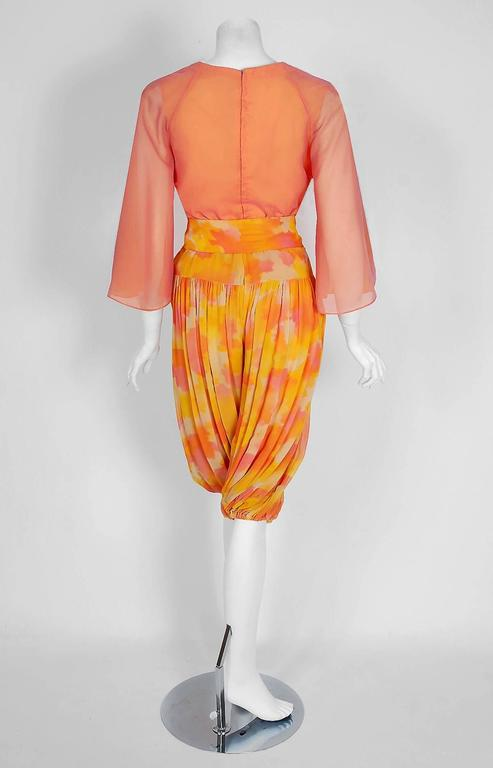 1960's Phyllis Diller Estate Pink & Yellow Chiffon Gypsy Harem-Pants Ensemble  For Sale 1