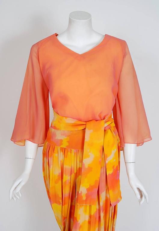 1960's Phyllis Diller Estate Pink & Yellow Chiffon Gypsy Harem-Pants Ensemble  3