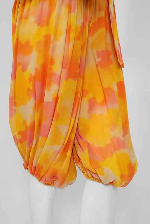 Women's 1960's Phyllis Diller Estate Pink & Yellow Chiffon Gypsy Harem-Pants Ensemble  For Sale