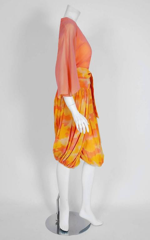 1960's Phyllis Diller Estate Pink & Yellow Chiffon Gypsy Harem-Pants Ensemble  In Excellent Condition For Sale In Beverly Hills, CA